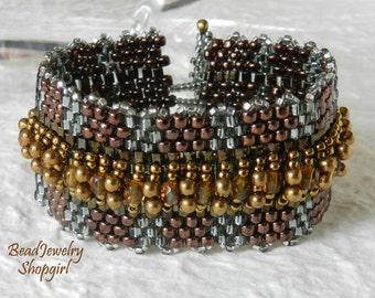 Silver Grey & Bronze Embellished Peyote Cuff Bracelet, Series no. 3