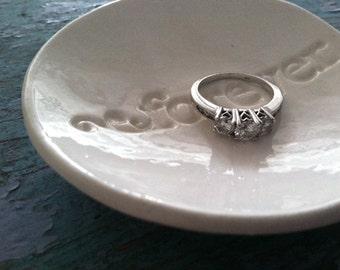 Ceramic Ring Dish Wedding Gift Engagement Gift Forever Ring Bowl Ring Dish