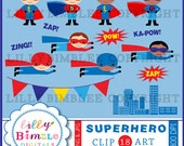 Superhero clipart birthday party clip art flying superheroes red and blue INSTANT Download
