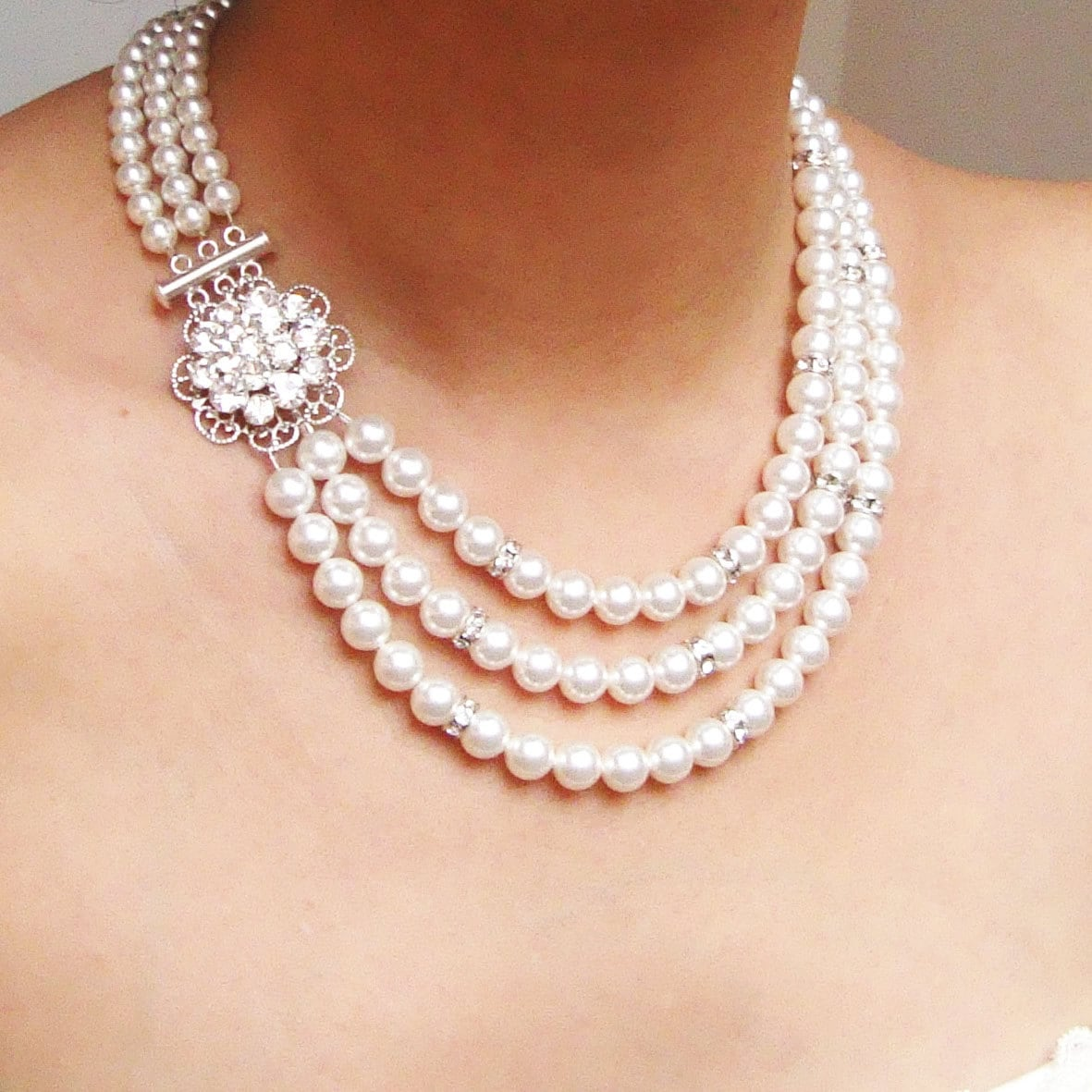 Pearl Necklace Styles: Statement Pearl Bridal Necklace Vintage Style Wedding
