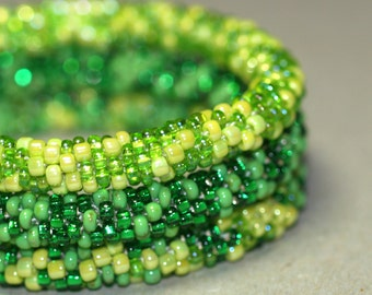 Triplets - Green ... Bangle Set . Bracelet . Bead Crochet . Spring . Emerald . Sparkly . Chic . Bold . Modern . Stackable . Fashion Jewelry