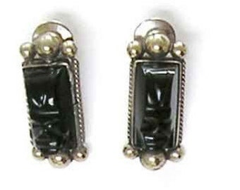 Vintage Sterling Tie Hat Pins, Mexico Silver Jewelry, Taxco Hat Pins, Vintage 1930 Black Onyx or Obsidian, Masks Hand Carved, Handmade.