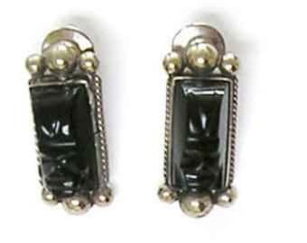 Vintage Pins, Sterlng Tie Pins, Mexico Jewelry, Taxco Hat Pins, Vintage 1930, Mexico Sterling Onyx or Obsidian, Masks Hand Carved, Handmade.