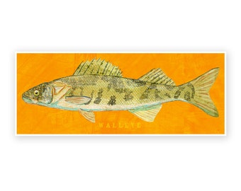 "Freshwater Fish Art- Walleye Art Print 6.6"" x 18""- Freshwater Fish Decor for Dad- Kids Fish Art- Dad Gifts- Fishing Art- Gift for Dad"