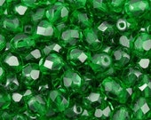 6mm Emerald Fire Polished Czech Glass Beads (50)