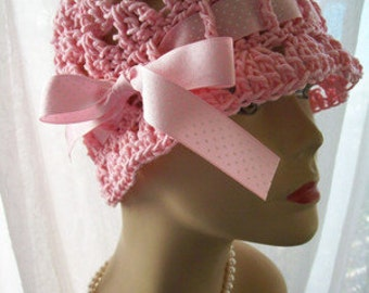 Handmade Natural Cotton Cloche Sun Hat Satin Ribbon Custom: Choose Hat Color, Ribbon Color, and Size