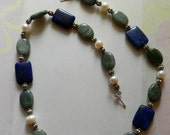SALE Lapis Pearl and Jasper Necklace