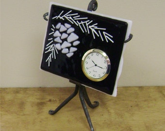 SALE-Pinecone Fused Glass Clock on Iron Stand 6-1/4 x 8