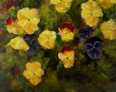 Garden Pansy Flowers Bouquet Flower Classico Style Original Oil Painting by California Artist Debra Alouise