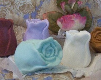 Rose Bud Flower Silicone Soap Mold Candle Mold Hand Made DIY Craft Molds by Aritst Debra Alouise