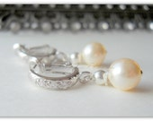 Ashley Bridal Earrings Pearl and Cubic Zirconia in Sterling Silver