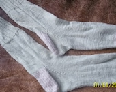 Hand knit socks stockings super soft NZ wool silk off white cream and mint green Medium lightweight