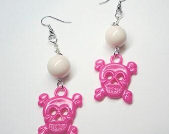 Girlie Hot Pink Skull and Crossbones Earrings