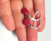 Ruby nugget earrings