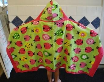 Hooded Towel//Lady Bugs//Swim//Gift//Bath Hooded Towel