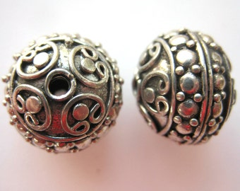 MS 20mm Wire and Granulation Decorated Bead (1) Bali Sterling Silver Fair Trade