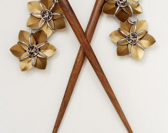 Pair of Six Inch Wooden Hair Sticks with Metallic Bronze Flowers