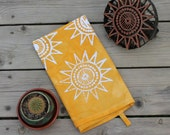 sunshine tea towel hand printed batik. made to order