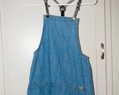 RESERVED for Mimi Cracra - Vintage Blue Asphalt Denim Overalls Jumper Dress