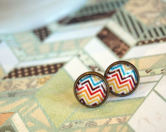 chevron zigzag framed post earrings- southwestern color theme- stripes