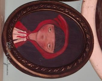 Little Red Riding Hood  Folk Art Fairytale Portrait in oval Frame OOAK