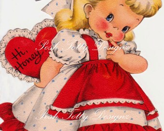 Hi Valentine Vintage Digital Download Printable Image (356)