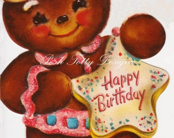 Happy Birthday Gingerbread Man Vintage Digital Download Printable Image (369)