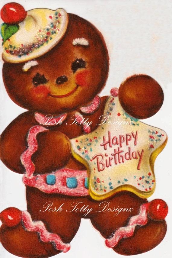 Happy Birthday Gingerbread Man Vintage Digital Download Printable ...