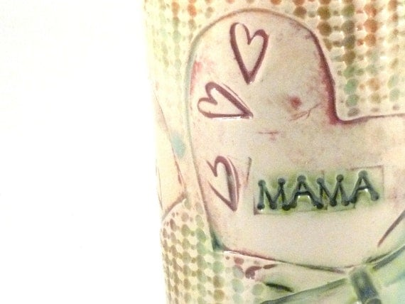 MAMA Handmade Ceramic Coffee Cup with dragonflies and hearts Personalized Mug for Mother Ready to Ship Today