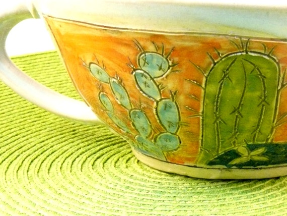 Artistic Blue and Tangerine Ceramic Handled Bowl with cactus  - IN STOCK  DSB2 Graduate Gift