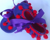 Purple Felt Baby Booties, Red Soft Soled Baby Shoes, with Pom Pom Trim and Ribbon Ties Small