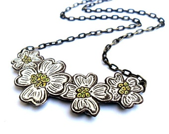 White Dogwood Flower Blossom Necklace - In Bloom Flower Necklace