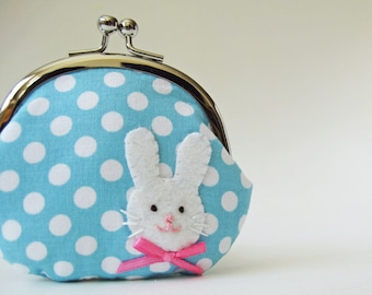 Coin purse rabbit on blue with white polka dots kiss lock coin purse change purse bunny light blue pink bow clasp purse