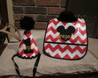 FIRST BIRTHDAY SET Birthday Hat and Matching Bib Mickey Mouse with Name Embroidered