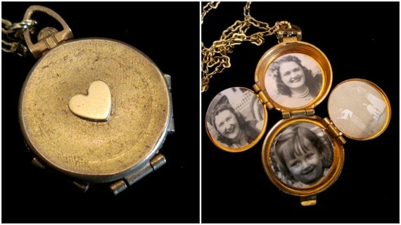 Love in My Heart - Vintage 4 Picture Locket Necklace