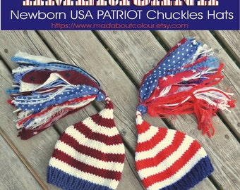 AMERiCAN FLaG Newborn Baby Hat KNiT Photo Prop PaTRiOTiC USA Stocking Cap STaRS STiPeS Tassel Beanie ReD WHiTe BLuE Independence Fourth July