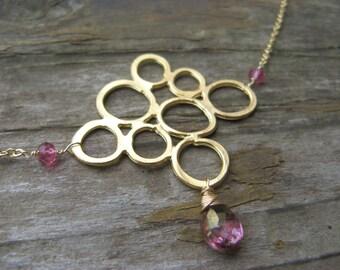 SALE - golden bubbles and pink topaz - necklace