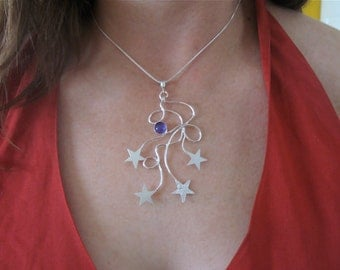 Celestial Freeform Star Necklace, Celestial Necklace with Gemstone, Handmade, OOAK, Artisan, Sterling Silver