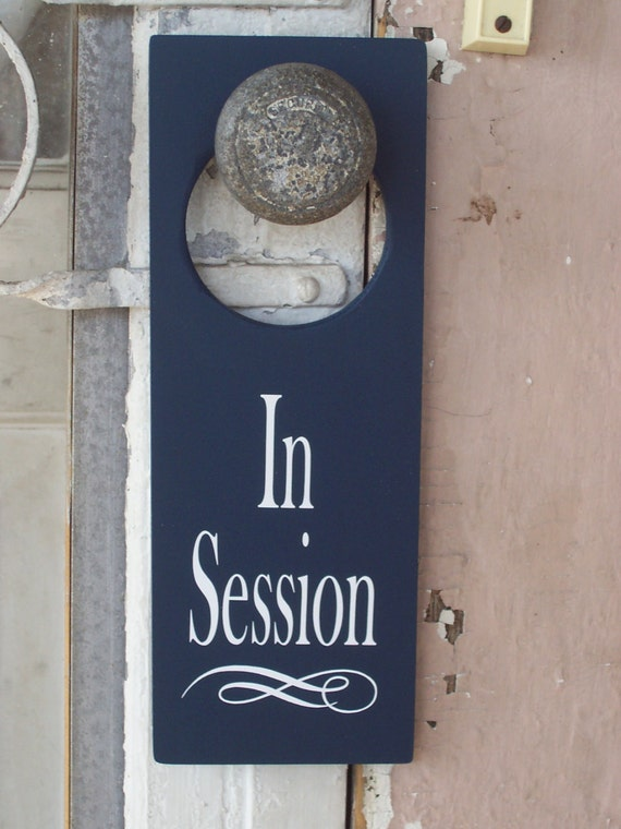 How To Change A Door Knob >> In Session Door Knob Hanger Wood Vinyl Sign Nautical Navy Blue