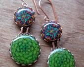 Statement earrings, OOAK, Mexican fiesta jewelry, green emerald plate earrings, Mexican wedding, drop earrings, Southwestern, Talavera, MTO