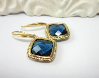 SALE    Bezel Set Sapphire Blue Glass Earrings in Gold