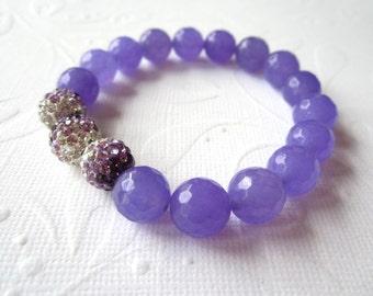 Lavender Jade Stretch Bracelet with Pave Crystals
