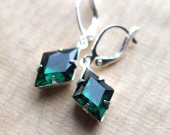Emerald Glass Earrings - Silver - Leverback Earwires