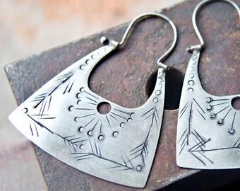 Sterling Silver Earrings - Hippie Earrings - Silver Boho Earrings - Handcrafted Jewelry