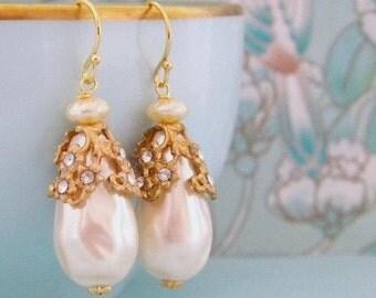 Vintage Rhinestone Filigree Baroque Pearl Earrings