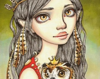 TABITHA and her Royal Owlet- surreal pop fantasy art girl and owl - 5x7 print of an original painting by Tanya Bond