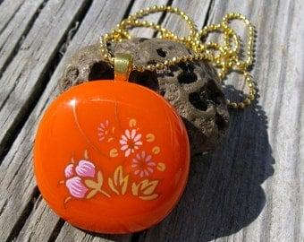 Orange and Pink Retro Flower Necklace