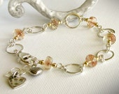 Oregon Sunstone Link Bracelet - Sterling Silver, Heart Charms, Pink Peach