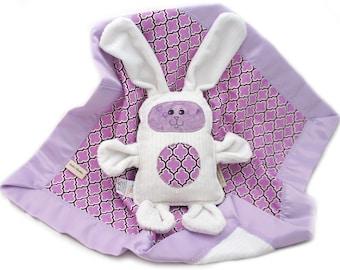 Minky Baby Blanket and Plush Bunny Toy Lilac Lattice Woobie White Rabbit Baby Shower Gift Set