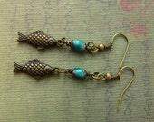 Brass Fish Dark Aqua Dangle Earrings